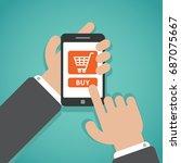 telephone in hands flat... | Shutterstock .eps vector #687075667