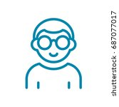 man in glasses thin line icon... | Shutterstock .eps vector #687077017
