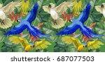 sky bird parrot pattern in a... | Shutterstock . vector #687077503