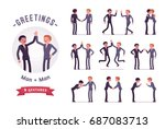 business partners handshaking ... | Shutterstock .eps vector #687083713