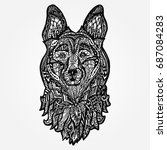 dog head  face sheepdog.... | Shutterstock .eps vector #687084283