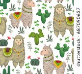 seamless pattern with lama... | Shutterstock .eps vector #687090637