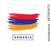 armenia brush stroke flag with... | Shutterstock .eps vector #687092473