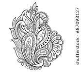 henna tattoo flower template.... | Shutterstock .eps vector #687093127