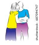 woman kissing man on the cheek. ... | Shutterstock .eps vector #687094747