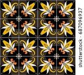vector ceramic tiles with... | Shutterstock .eps vector #687096937