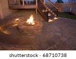 beautiful firepit at dusk | Shutterstock . vector #68710738