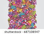 candy and sweets cartoon doodle ... | Shutterstock .eps vector #687108547