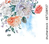vintage watercolor bouquet with ... | Shutterstock . vector #687108937