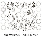 big set of flowers and herbs.... | Shutterstock .eps vector #687112597