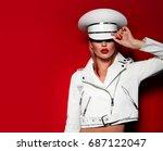 beautiful young fashionable... | Shutterstock . vector #687122047