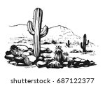 sketch of the desert of south... | Shutterstock .eps vector #687122377