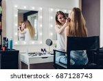 professional makeup artist... | Shutterstock . vector #687128743