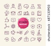 different trendy outline icons... | Shutterstock .eps vector #687133903