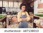 delightful young woman is... | Shutterstock . vector #687138013