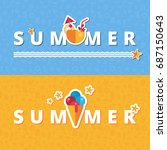 vector summer banners with flat ... | Shutterstock .eps vector #687150643
