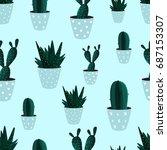 seamless pattern. cactus.... | Shutterstock .eps vector #687153307