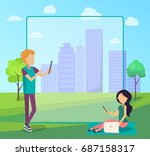 young people spend time in city ... | Shutterstock .eps vector #687158317