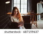 young beautiful redhead woman... | Shutterstock . vector #687159637