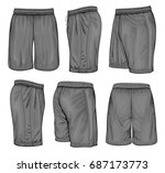 men's black sport shorts.... | Shutterstock .eps vector #687173773