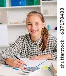 teenage girl preparing for... | Shutterstock . vector #687178483