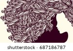 beautiful girl with long  curly ... | Shutterstock .eps vector #687186787