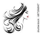 beautiful woman with long  wavy ... | Shutterstock .eps vector #687186847