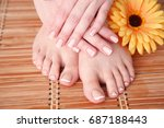 care for beautiful woman legs... | Shutterstock . vector #687188443