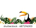 summer sale banner with toucan  ... | Shutterstock .eps vector #687196303