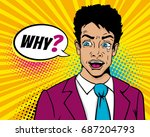 male pop art face. sad crying... | Shutterstock .eps vector #687204793