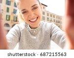 portrait beautiful tourist... | Shutterstock . vector #687215563