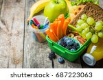 healthy school lunch box | Shutterstock . vector #687223063