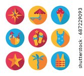 beach flat vector icons with ... | Shutterstock .eps vector #687229093