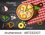 "pizza ""hawaiian"" on the... | Shutterstock .eps vector #687232327"