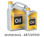 set of canisters motor oil. 3d... | Shutterstock . vector #687235543
