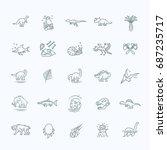 dinosaur icons vector. dinosaur ... | Shutterstock .eps vector #687235717