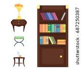 furniture room interior design... | Shutterstock .eps vector #687250387