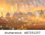 background blur landmark mosque ... | Shutterstock . vector #687251257