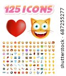 set of 125 realistic cute icons ... | Shutterstock .eps vector #687255277