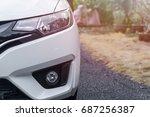 head light of a car on the park ... | Shutterstock . vector #687256387