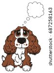 spaniel sit and thinking about... | Shutterstock . vector #687258163