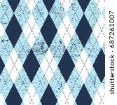 seamless argyle aged pattern.... | Shutterstock .eps vector #687261007