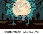 zombie out of the grave on... | Shutterstock .eps vector #687269293