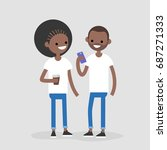 couple of young african... | Shutterstock .eps vector #687271333