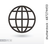 globe flat icon. sign planet.... | Shutterstock .eps vector #687274453