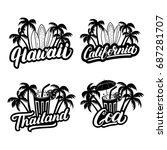 set of hawaii  california  goa... | Shutterstock . vector #687281707