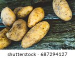 fresh organic potatoes. healthy ... | Shutterstock . vector #687294127