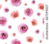watercolor romantic floral...   Shutterstock . vector #687295027