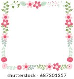 cute vector floral frame... | Shutterstock .eps vector #687301357