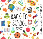 back to school seamless pattern.... | Shutterstock .eps vector #687304537